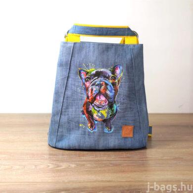 Francia bulldogos átalakítható hátizsák - farmer